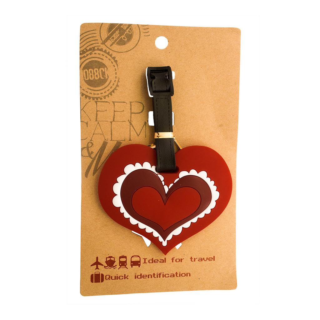 Red Valentine Heart Design Luggage Tag (Comes in packs of 12 - $2.50 each)
