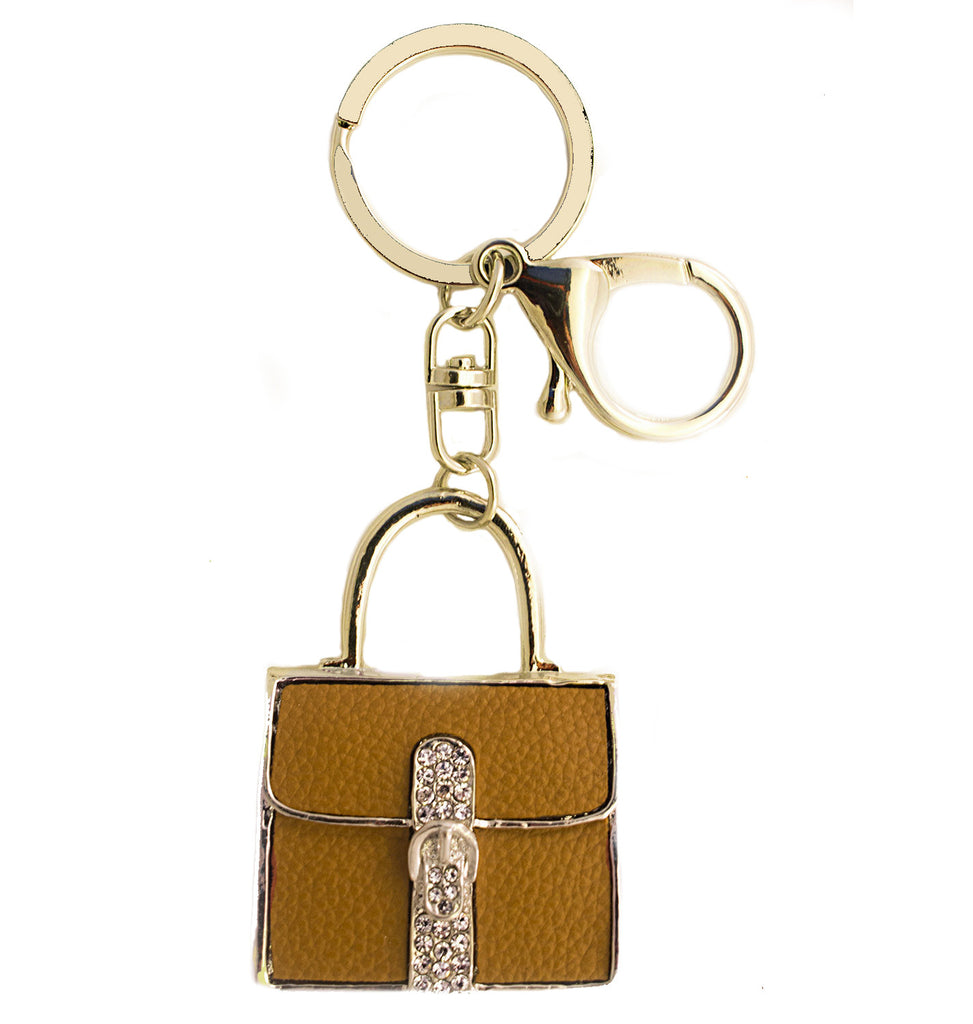 Brown Purse Rhinestone Key Chain