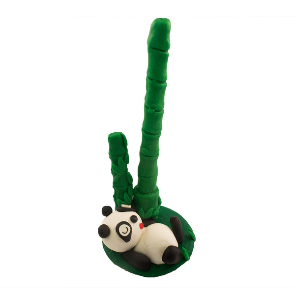 Hand Made Panda w/ Bamboo Stand Polymer Clay Pen