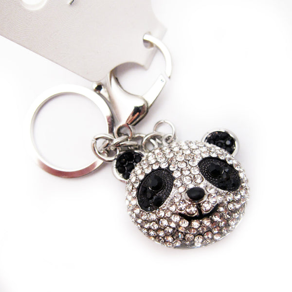 Panda Head Rhinestone Key Chain