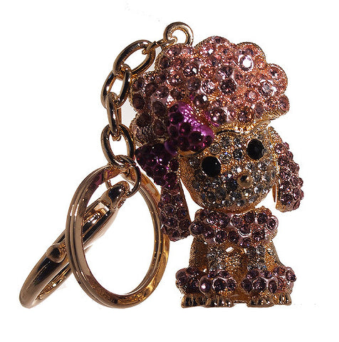 Baby Poodle Pink Rhinestone Key Chain