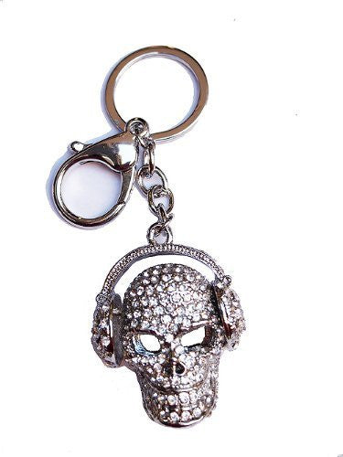 Skull Head Rhinestone Key Chain