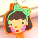 Girl with Green Bow Earphone Tie