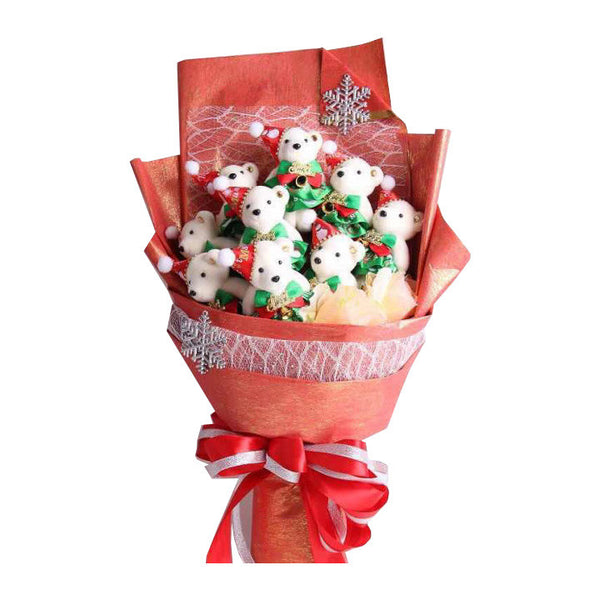 Special Christmas Bear Design Red Theme Flower Bouquet
