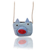 Light Blue Striped Pig Cotton Coin Purse Wallet Bag with Strap