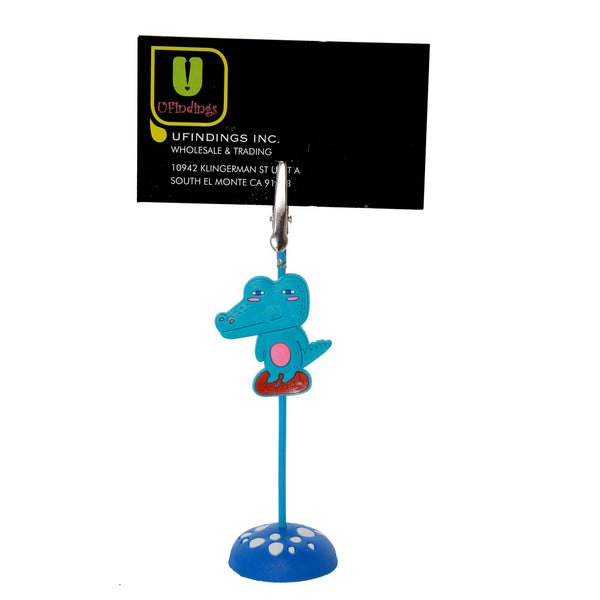 Blue Alligator PVC Photo Holder Business Card Clip Hanger