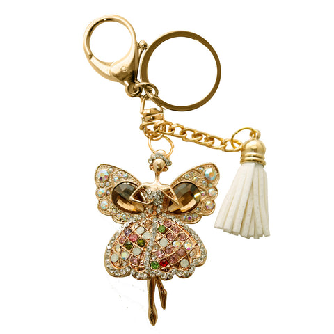 Angel Wings Rhinestone Key Chain with Tassel