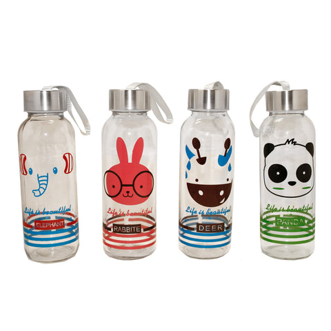 Animal Transparent Glass Water Bottle Tumbler Assorted