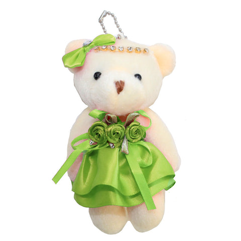 Plush Apple Green Bear with Bow and Rhinestones Key Chain