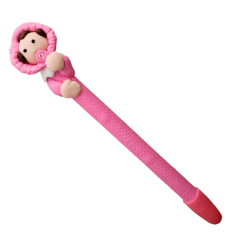 Baby in Pink Cloth with Pacifier Polymer Clay Pen
