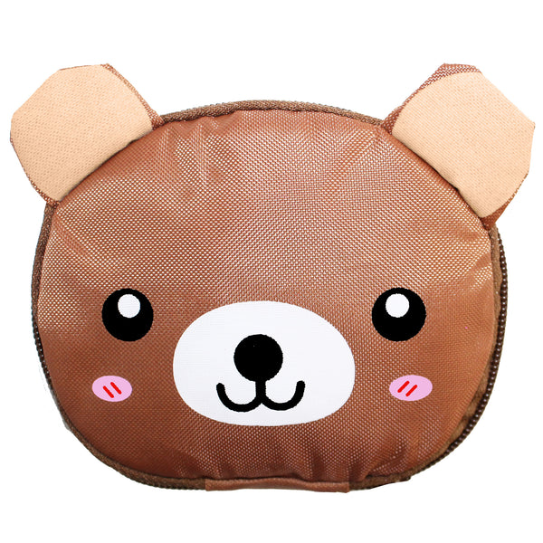 Brown Bear Foldable Shopping Bag w/ Zipper
