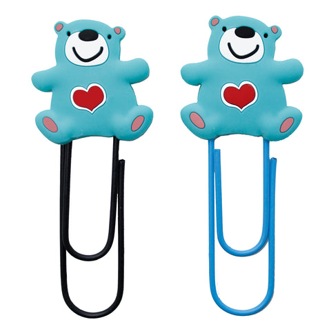 Blue Bear Heart PVC Bopokmark Paper Clip