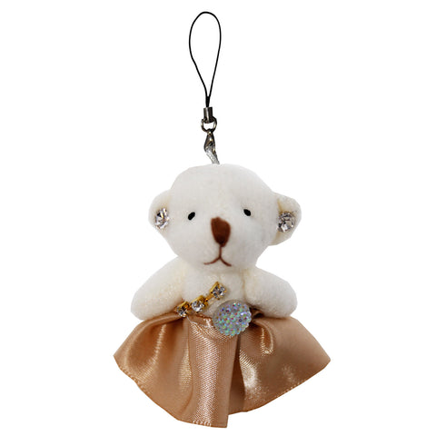 Rhinestone Bear with Dress String Hanger Plush Key Chain