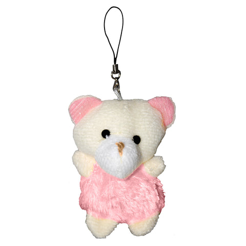 Bear with Pink Fur Dress String Hanger Plush Key Chain