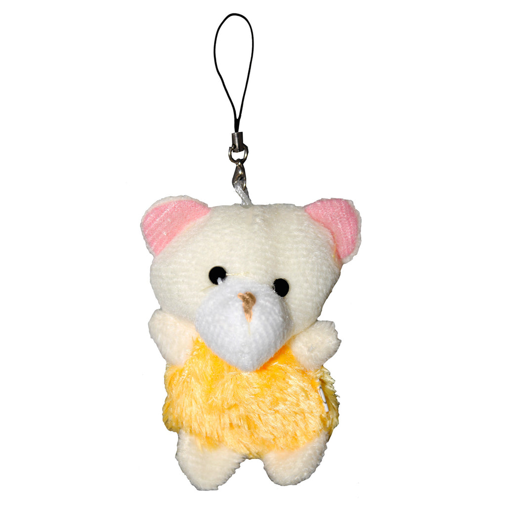 Bear with Yellow Fur Dress String Hanger Plush Key Chain