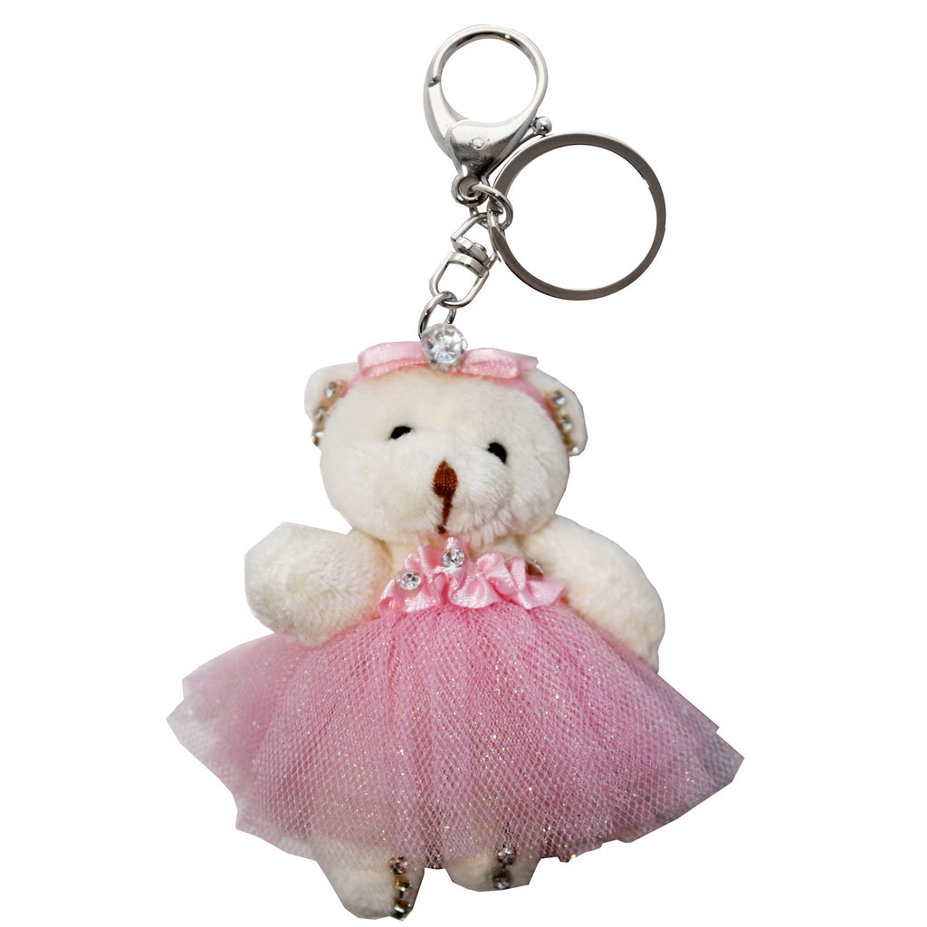 Bear with Pink Dress Plush Key Chain