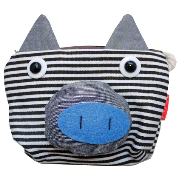 Black Striped Pig Cotton Coin Purse Wallet Bag with Strap
