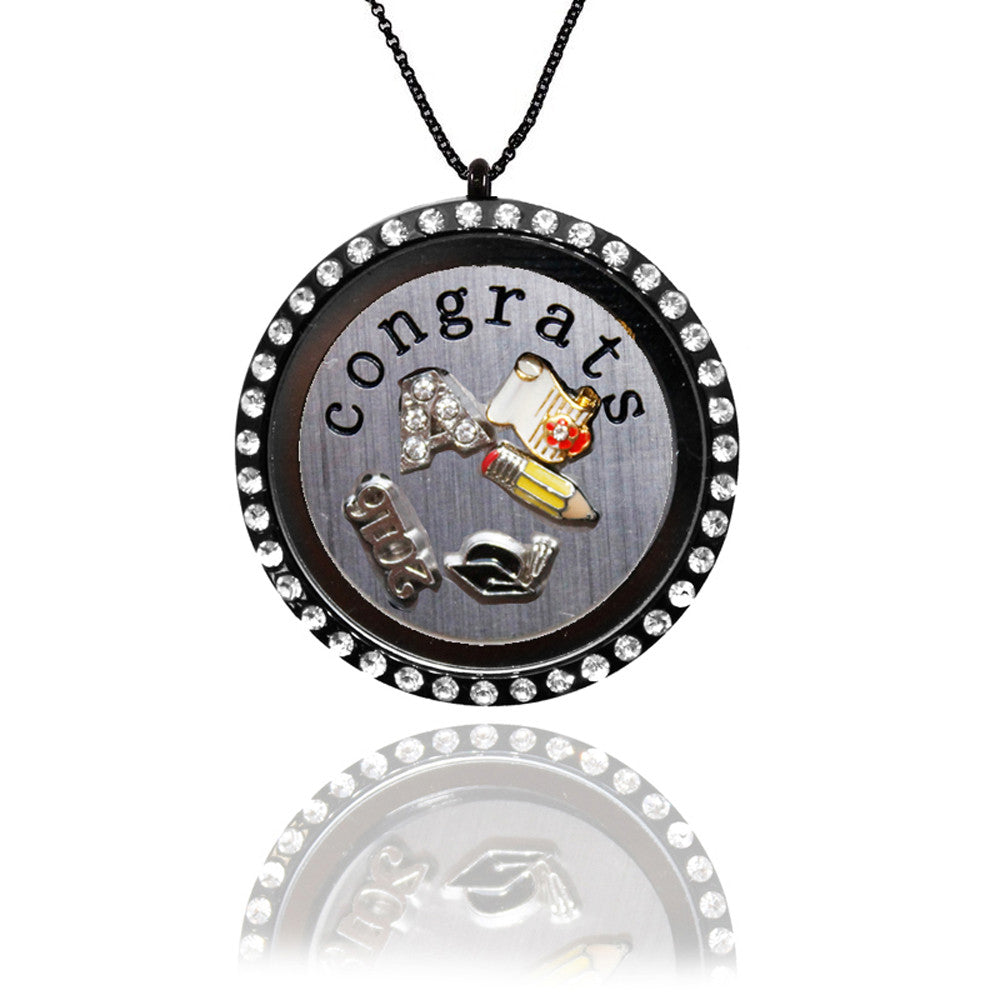 Black Graduation Locket with Floating Charms and Stainless Steel CONGRATS Plate