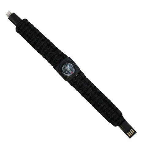 Black USB Cable Bracelet with Compass for iPhones and iPads