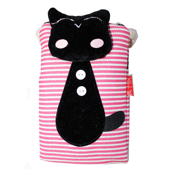 Black Cat Red Stripes Cotton Cell Phone Purse Wallet Bag with Strap