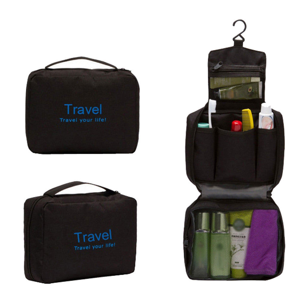 Black Travel Your Life Organizer Kit Pouch Bag