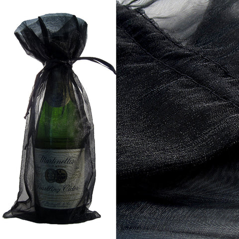 Black Organza Wine Bag