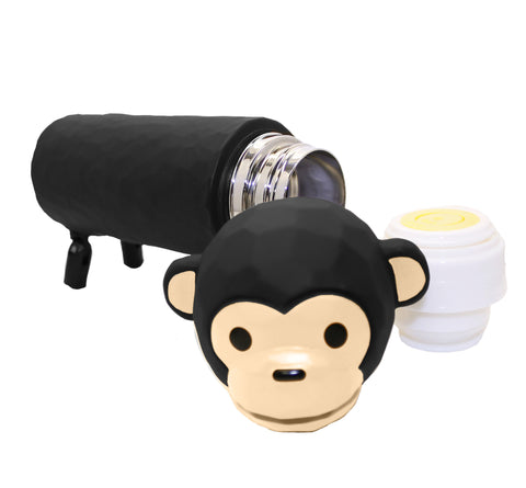 3D Monkey Tumbler Thermos  Black Water Bottle