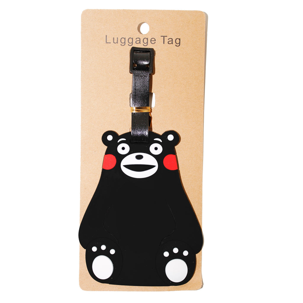 Black Happy Bear Large Luggage Tag (Comes in packs of 12 - $2.50 each)