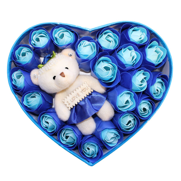 Blue Heart Plush Bear Valentine's Gift Box w/ Soap Flowers
