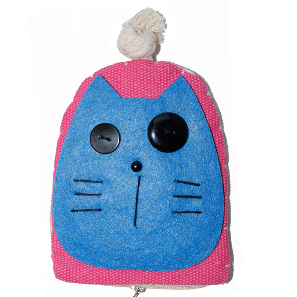 Blue Cat Cotton Coin Purse Wallet Bag with Hand Strap