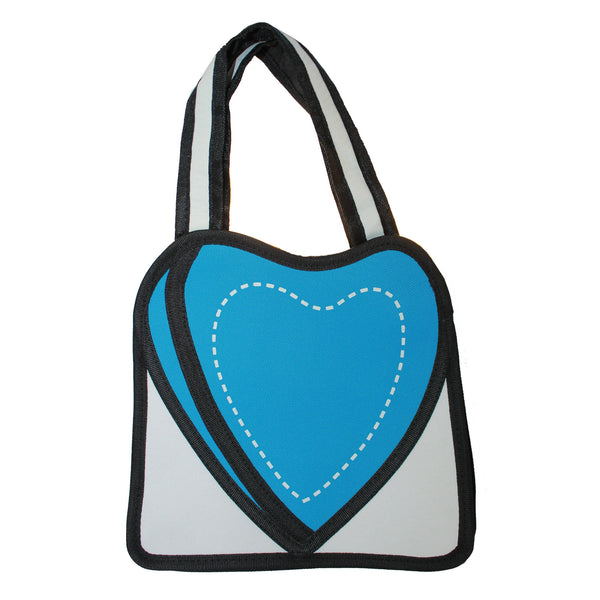 3D Travel Hand Bag Purse Blue Heart Design