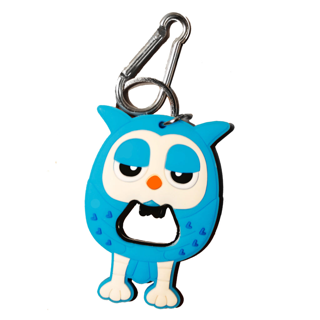 Blue Owl PVC Beer Bottle Opener Key Chain