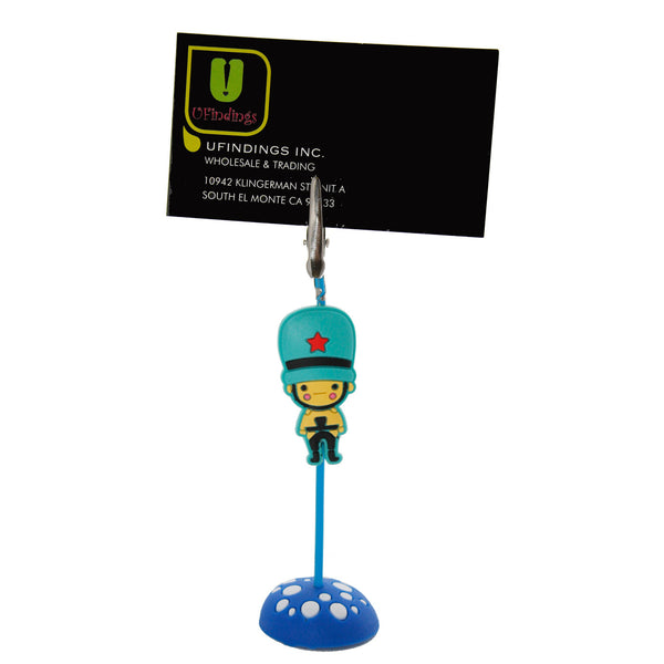 British Soldier Guard with Blue Hat PVC Photo Holder Business Card Clip Hanger