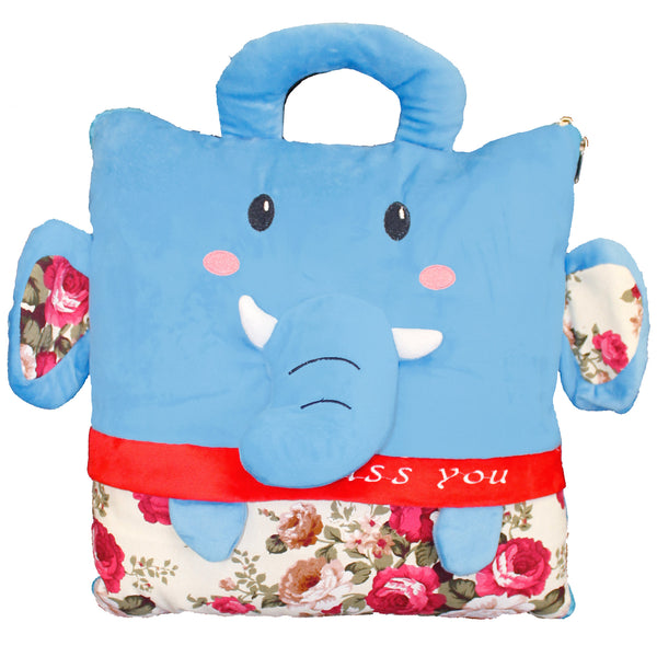 Blue Elephant Miss You Plush 2-in-1 Pillow, Converts into Blanket