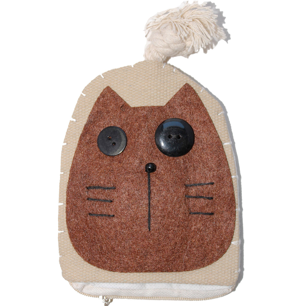 Brown Cat Cotton Coin Purse Wallet Bag with Hand Strap