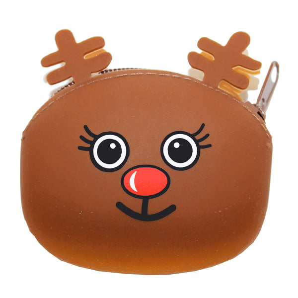 Brown Reindeer Animal Silicone Rubber Coin Purse