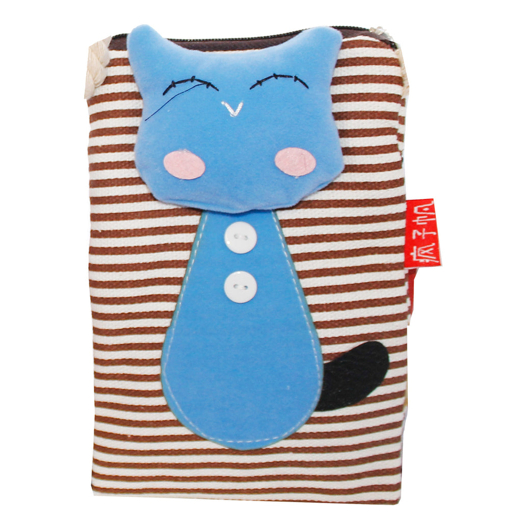 Blue Cat Brown Stripes Cotton Coin Purse Wallet Bag with Strap