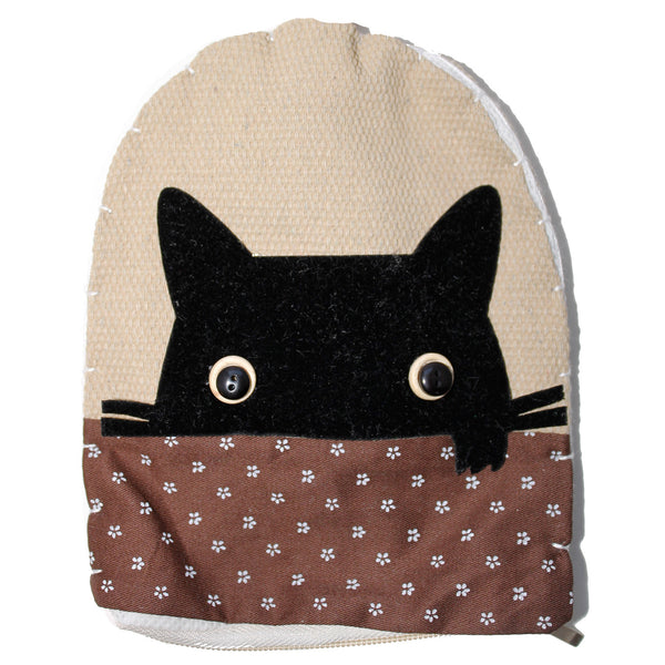 Brown Cat Head Cotton Coin Purse Wallet Bag with Hand Strap