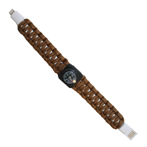 Brown USB Cable Bracelet with Compass for iPhones and iPads