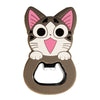 Gray Happy Cat Magnetic Bottle Opener