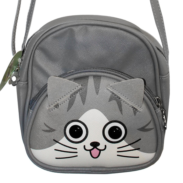 Gray Cat Purse Shoulder Bag with Strap