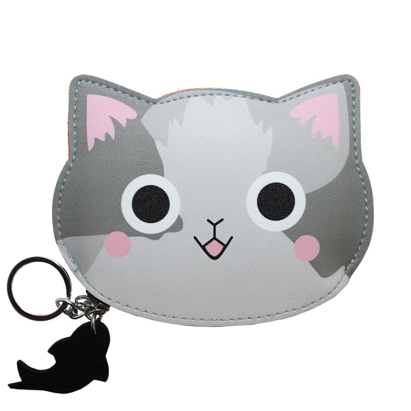 Cute Gray Cat Wallet Coin Purse Accessory