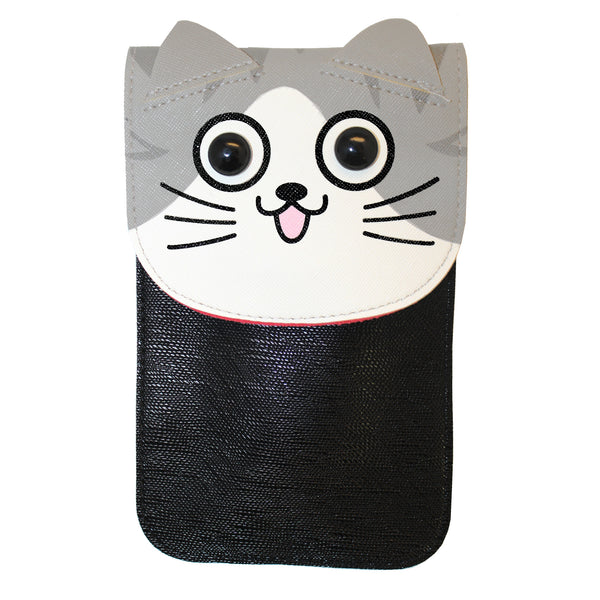 Cute Black Gray Cat Purse Bag with Strap