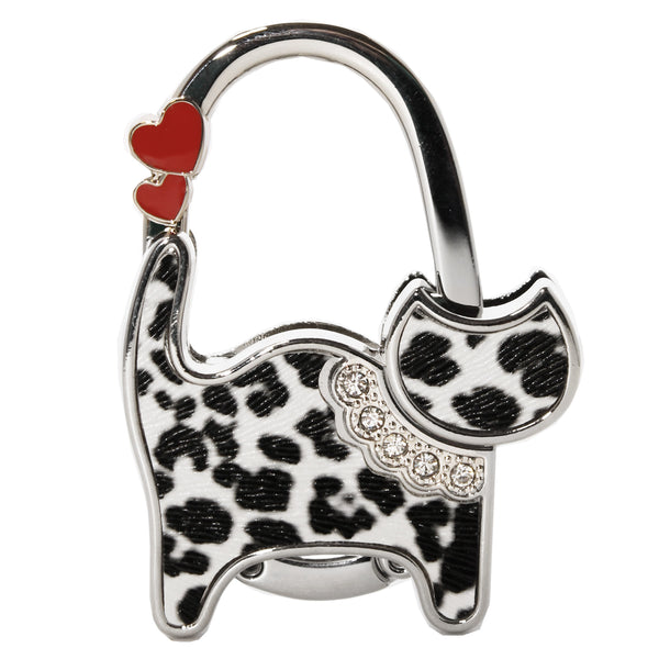 Spotted Cat with Heart Glitter Purse Holder Bag Hanger