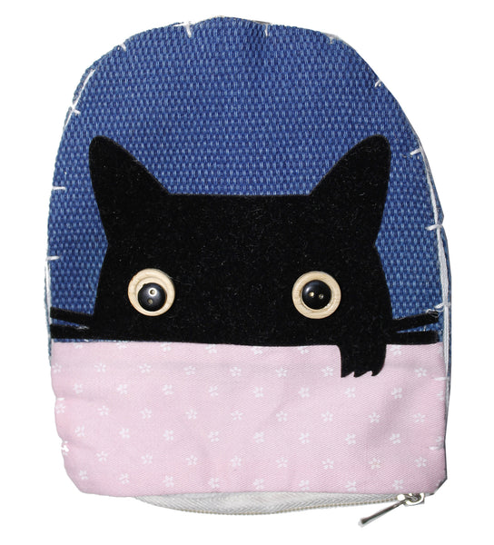 Blue Cat Head Cotton Coin Purse Wallet Bag with Hand Strap