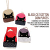 Purple Cat Head Cotton Coin Purse Wallet Bag with Hand Strap