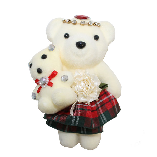 Checkered Mom & Daughter Hard Foam Bear