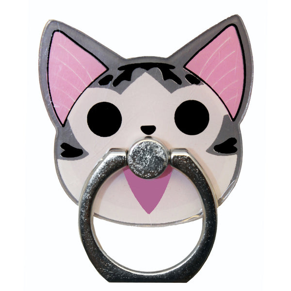 Gray Cheese Cat Phone Ring Holder Stand