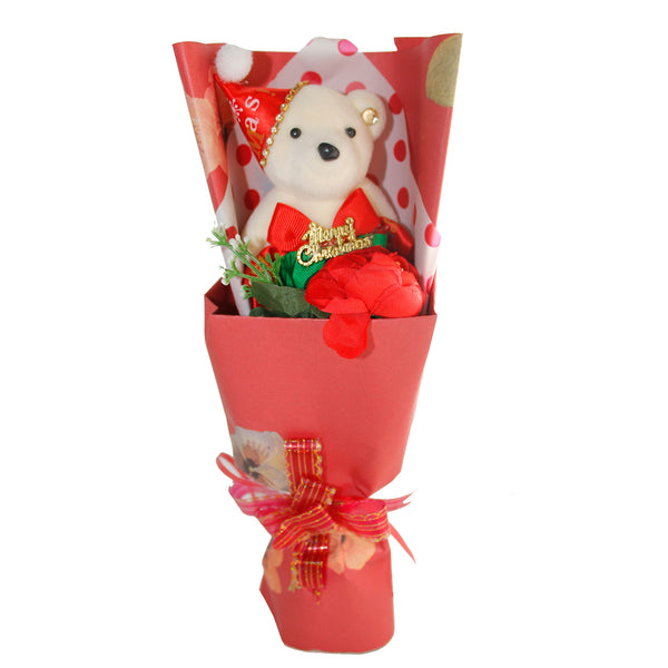 Special Christmas Bear w/ Rhinestones Red Design Flower Bouquet