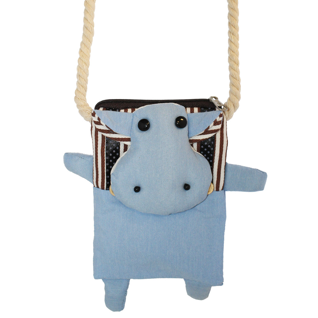 Blue Cow Cotton Coin Purse Wallet Bag with Strap